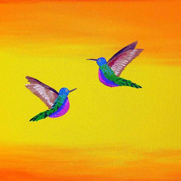 Blob Painting - Hummingbird Sunset by Cathy Jacobs