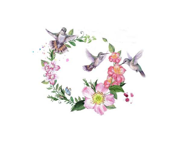 Photograph - Hummingbird Wreath In Watercolor by Lynn Bauer