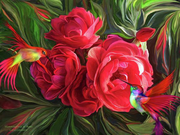 Mixed Media - Hummingbirds And Roses by Carol Cavalaris
