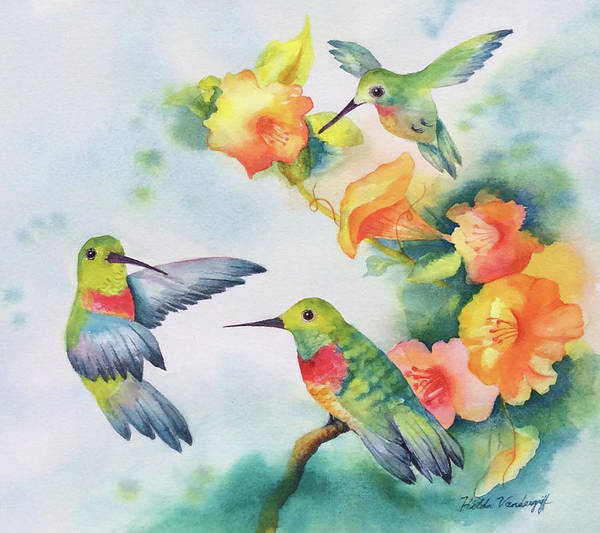 Painting - Hummingbirds With Orange Flowers by Hilda Vandergriff