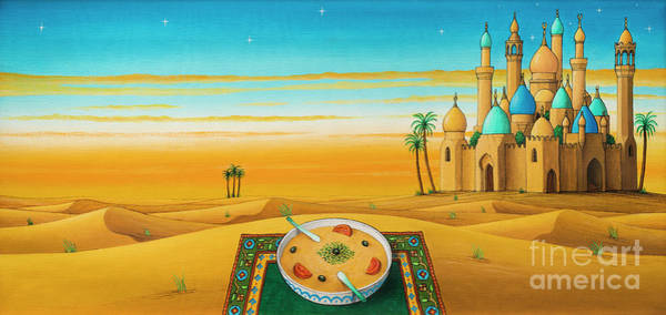 Wall Art - Painting - Hummus On The Sands by Larry Smart
