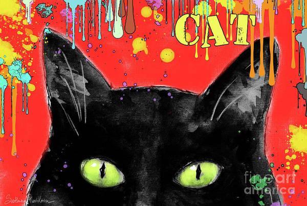 Pet Portrait Drawing - humorous Black cat painting by Svetlana Novikova
