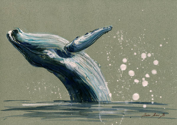 Wall Art - Painting - Humpback Whale Swimming by Juan  Bosco