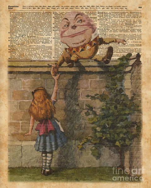 Page Mixed Media - Humpty Dumpty Alice In Wonderland Vintage Dictionary Art by Anna W