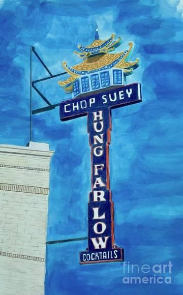 Neon Drawing - Hung Far Low by Glenda Zuckerman