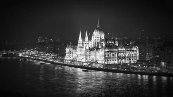 Photograph - Hungarian Parliament Night Bw by Joan Carroll