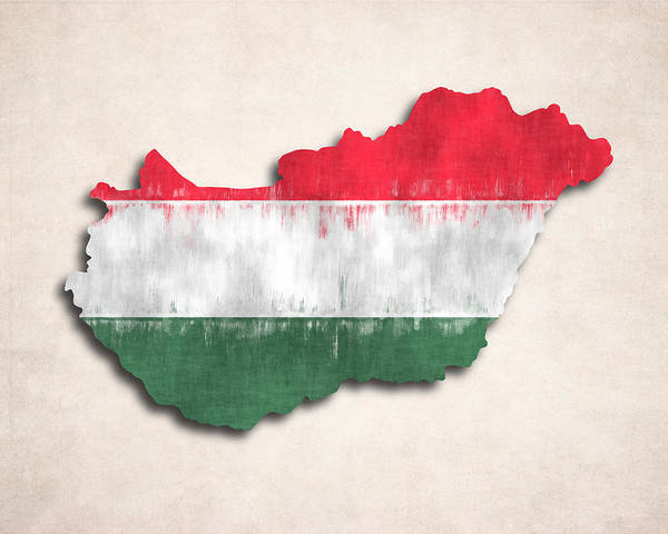 Wall Art - Digital Art - Hungary Map Art With Flag Design by World Art Prints And Designs