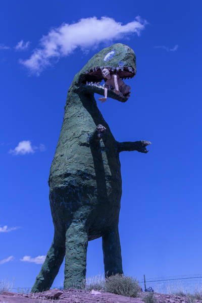 Disintegrate Photograph - Hungry Dinosaur Head In The Clouds by Garry Gay