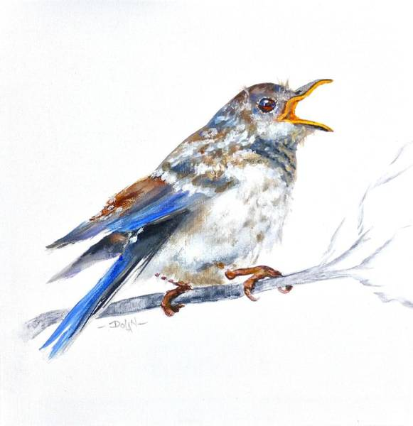 Painting - Hungry Fledgling Blue Bird by Pat Dolan