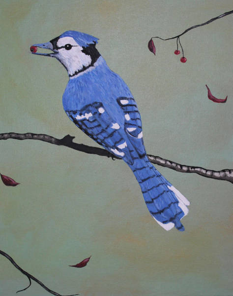 Wall Art - Painting - Hungry Jay by Candace Shockley