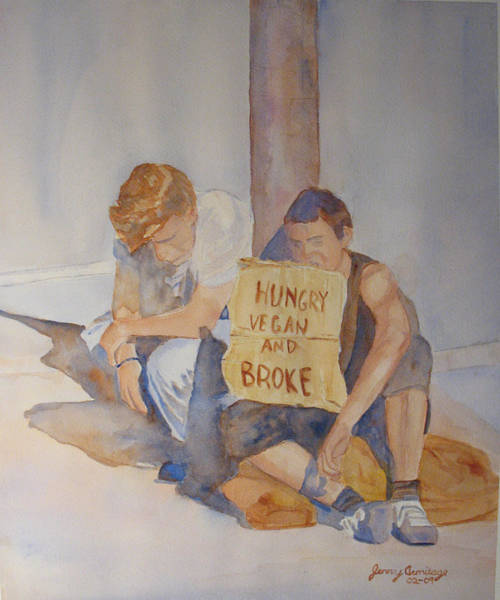Joke Wall Art - Painting - Hungry Vegan And Broke by Jenny Armitage