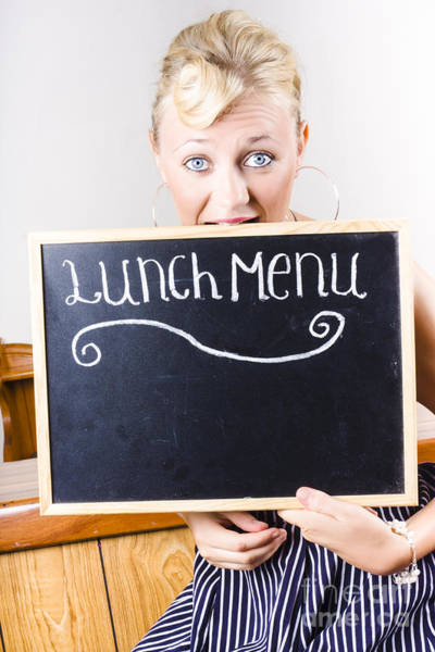 Appetite Photograph - Hungry Woman Eating A Cafe Lunch Menu by Jorgo Photography - Wall Art Gallery