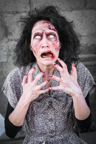 Brain Freeze Photograph - Hungry Zombie Woman by Matthias Hauser