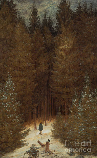 Stump Painting - Hunter In The Forest  by Caspar David Friedrich