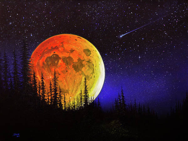 Wall Art - Painting - Hunter's Harvest Moon by Chris Steele
