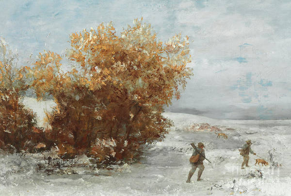 Wall Art - Painting - Hunters In The Snow  Detail by Gustave Courbet