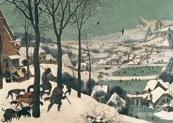 Snow Scene Painting - Hunters In The Snow by Pieter the Elder Bruegel