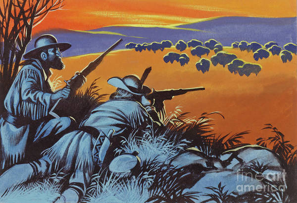 Wall Art - Painting - Hunting Buffalo In America by Ron Embleton