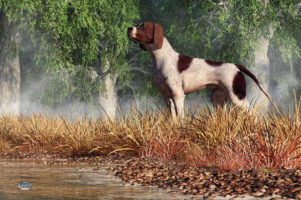 Digital Art - Hunting Dog By A River by Daniel Eskridge