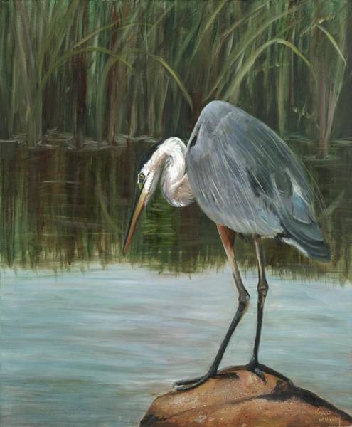 Fishing Heron Art Print