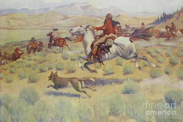 Prairie Painting - Hunting On The Prairie by Frederic Remington