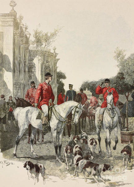 Wall Art - Drawing - Hunting Trip, Horses And Hounds by G Koch
