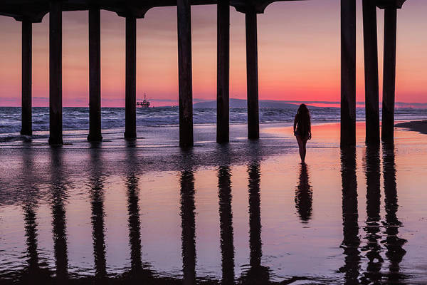 Huntingdon Beach Pier Silhouette At Sunset Art Print