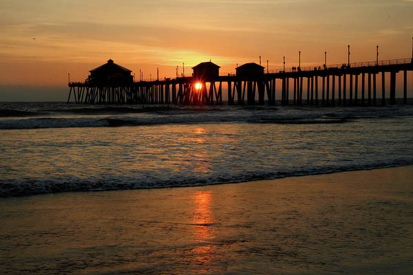 Photograph - Huntington Beach Pier At Sunset by Pierre Leclerc Photography