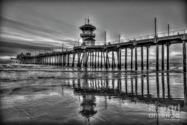 Photograph - Huntington Beach Pier B W Sunset Reflections California Surfing Mecca Art by Reid Callaway
