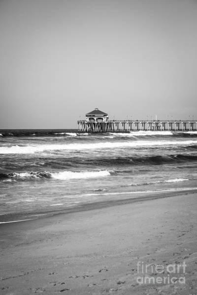 Huntington Beach Photograph - Huntington Beach Pier Black And White Photo by Paul Velgos