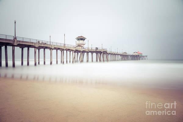 Huntington Beach Photograph - Huntington Beach Pier Foggy Morning by Paul Velgos