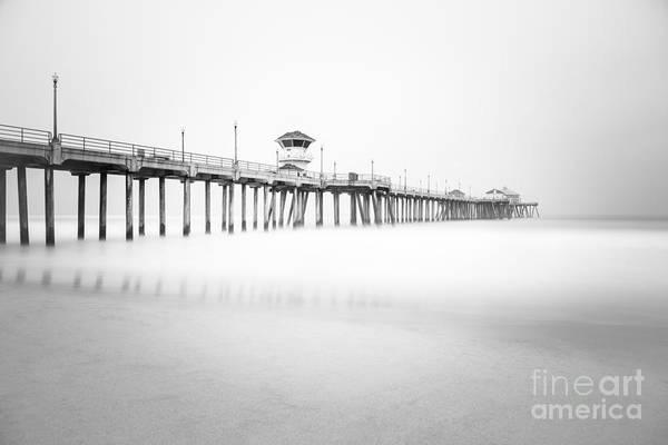 Huntington Beach Photograph - Huntington Beach Pier In Black And White by Paul Velgos