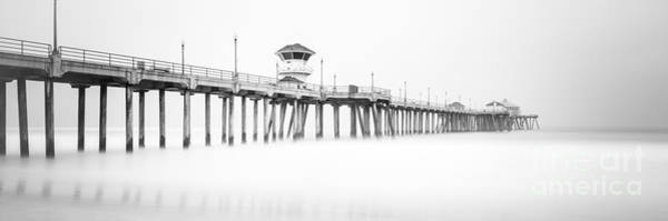 Huntington Beach Photograph - Huntington Beach Pier Panorama In Black And White by Paul Velgos