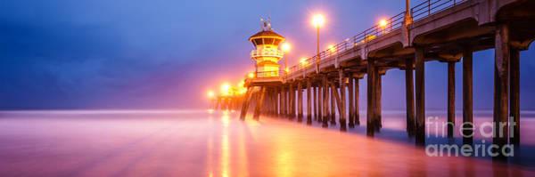 Huntington Beach Photograph - Huntington Beach Pier Sunrise Panorama Photo by Paul Velgos