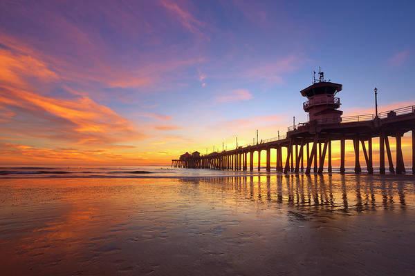 Huntington Beach Pier Photograph - Huntington Beach Pier Sunset Reflection by Brian Knott Photography
