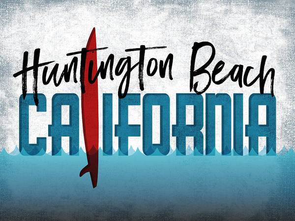 California Beaches Digital Art - Huntington Beach Red Surfboard by Flo Karp
