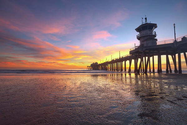 Huntington Beach Pier Photograph - Huntington Beach Sunset Low Tide by Brian Knott Photography