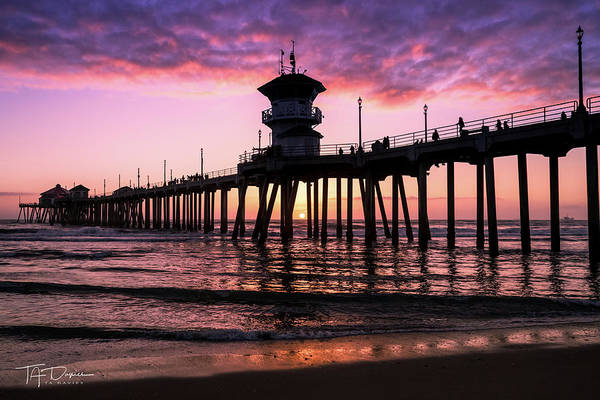 Photograph - Huntington Pier At Sunset 2 by T A Davies