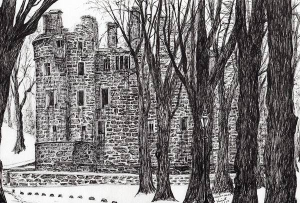 Woodland Drawing - Huntly Castle by Vincent Alexander Booth