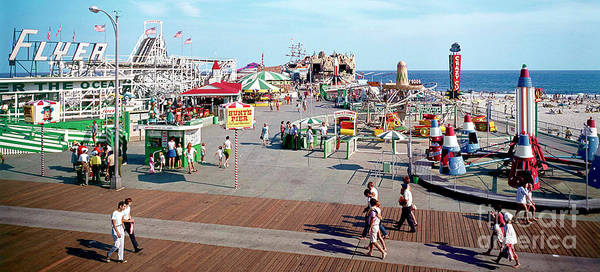 Roller Photograph - Hunts Pier In The 1960's, Wildwood Nj Sixties Panorama Photograph. Copyright Aladdin Color Inc. by Retro Views
