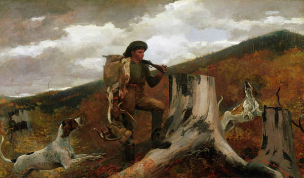 Huntsmen Wall Art - Painting - A Huntsman And Dogs by Winslow Homer