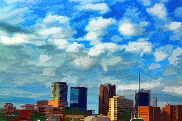 Mixed Media - Huntsville Alabama Skyline Abstract Art by Lesa Fine