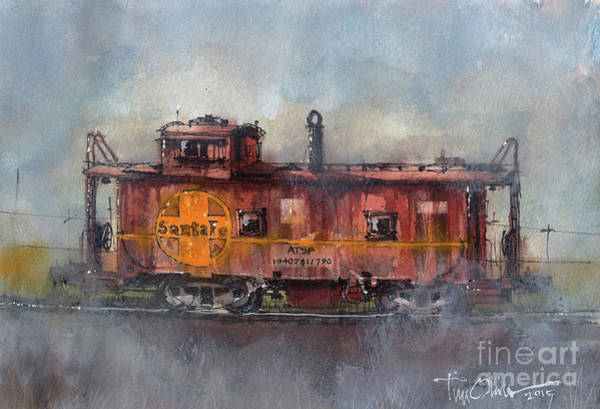 Railroads Painting - Hurlwood Caboose by Tim Oliver