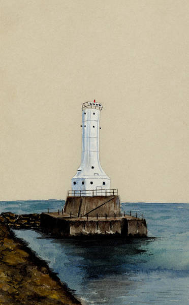Lake Huron Painting - Huron Harbor Lighthouse by Michael Vigliotti