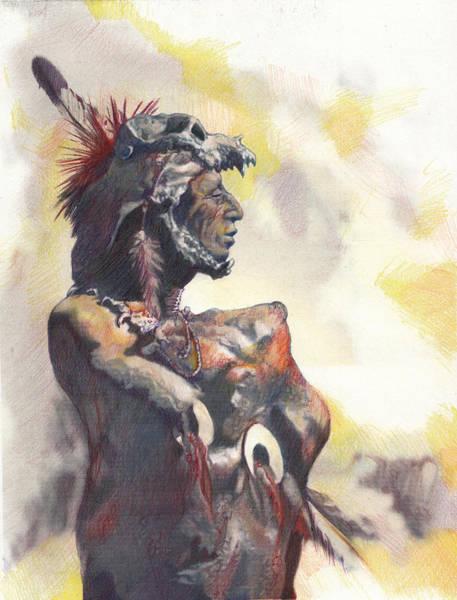 Native Headdress Painting - Huron by Matt Kedzierski