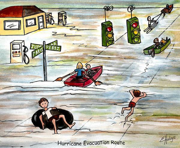 Katrina Wall Art - Painting - Hurricane Evacuation Route by Elaine Hodges