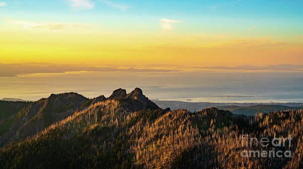 Olympic Peninsula Photograph - Hurricane Ridge And The Strait Of Juan De Fuca Dusk by Mike Reid