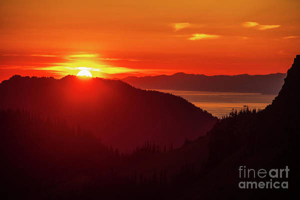 Olympic Peninsula Photograph - Hurricane Ridge And The Strait Of Juan De Fuca Sunset by Mike Reid