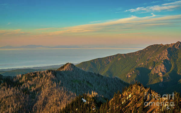 Olympic Peninsula Photograph - Hurricane Ridge Dusk View Towards Vancouver Island by Mike Reid