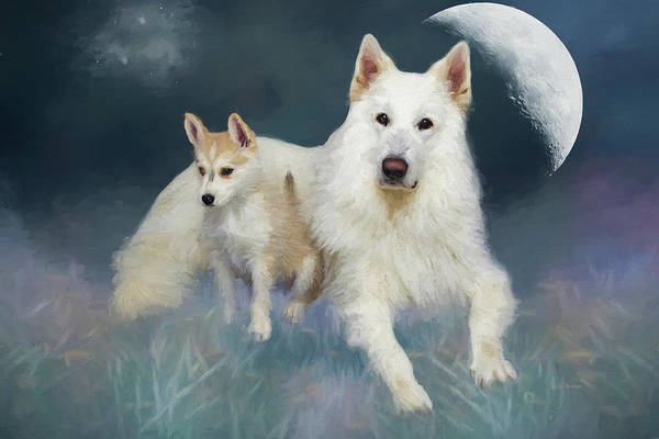 Painting - Huskies Under The Moon - Painted by Ericamaxine Price